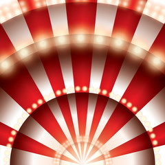 Theater stage with red and white lines and spotlights. Paper cut circus panel. Moulin rouge. Vector illustration.