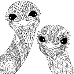 Two cute ostriches line art design for t shirt design and adult coloring book page. Stock Vector