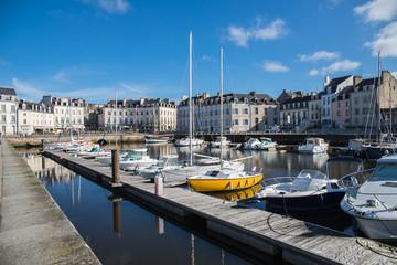 Vannes harbor, Morbihan, in Brittany, blue sky, blue sea