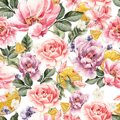 Seamless pattern with watercolor flowers. Peonies, anemone, citrus and roses.