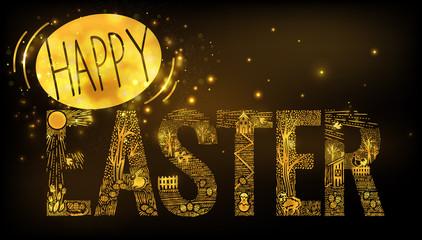 Easter  Linear style banner Dark