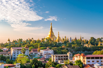 Yangon skyline with Shwedagon Pagoda