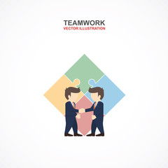 Teamwork with businessman and puzzle. Infographic Template. Vector Illustration.