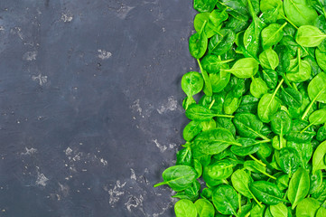 bunch of fresh spinach leaves on an old black concrete background
