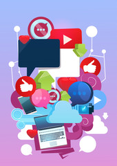 Internet Online Blogging Social Network Communication Concept Flat Vector Illustration