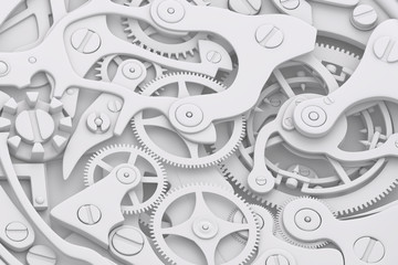 Watch mechanism grayscale 3D illustration with gears