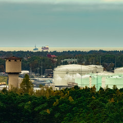 Fuel terminal in Riga. Large oil tanks