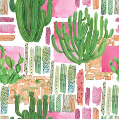 Watercolor painting seamless pattern. Watercolour cactus background, wallpaper, fabric