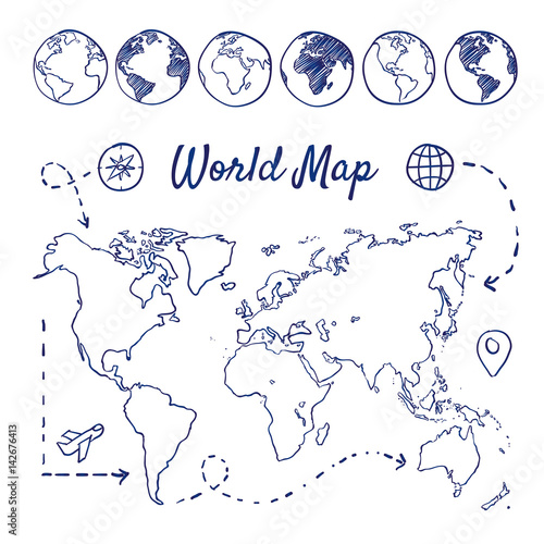 Doodle set of world map - globes, airplane, compass, route ...