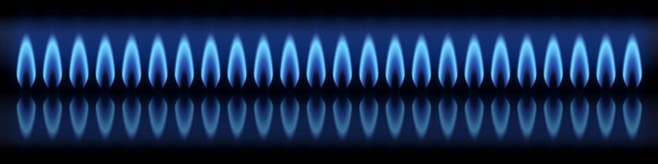 Bannière. Brûleur, gaz naturel. Fond noir