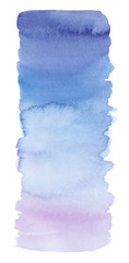 Long vertical blue gradient backdrop painted in watercolor on clean white background