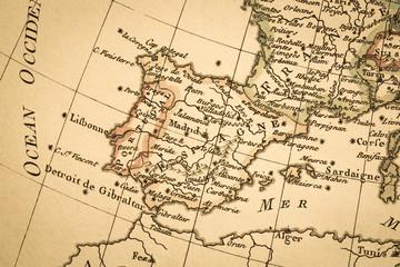 アンティークの古地図 イベリア半島