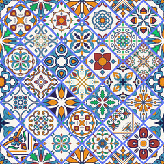 Garden Poster Moroccan Tiles Vector seamless texture. Beautiful mega patchwork pattern for design and fashion with decorative elements in rhombus