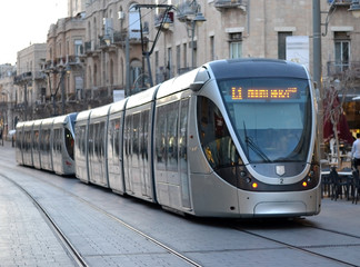 Light rail tram in Jerusalem, Israel