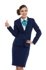 Stewardess Gives Thumb Up