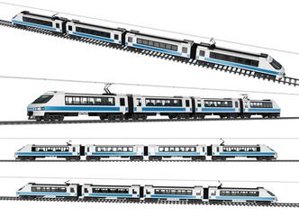 High speed electro train. 3d image set isolation on white