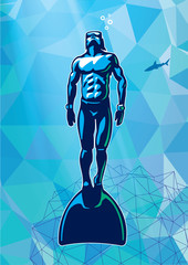 Free-diver under water with monofin. Illustration in the sport logo style.