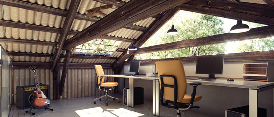 Modern interior design of barn office, nature, ecology, countryside, escape
