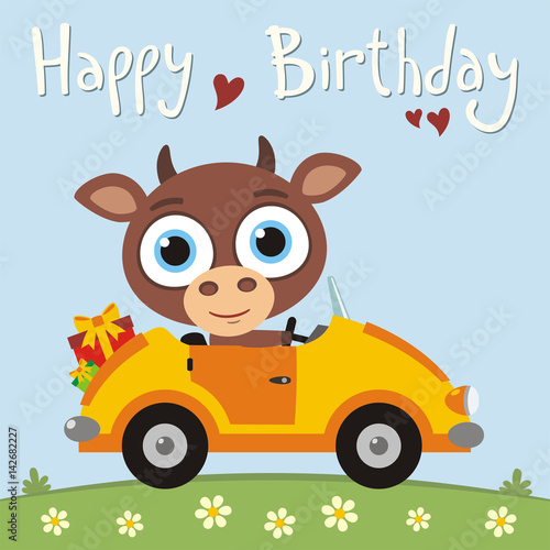 Happy Birthday Funny Cow Going In Car With Gifts For Birthday Card