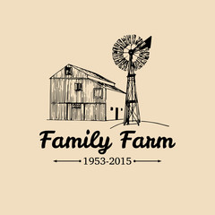 Vector retro family farm logotype.Organic premium quality products poster.Vintage hand sketched barn and windmill icons.