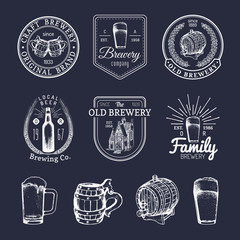 Old brewery logos set. Kraft beer retro signs with hand sketched glass, barrel etc. Vector vintage ale, lager labels.