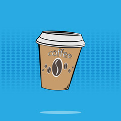A Cup of coffee in the background in the style of a comic book