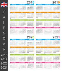 Calendar 2018 2019 2020 2021 / English calendar template for years  2018-2021, week starts on Monday