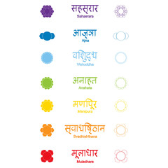set of color icons with  names of chakras in Sanskrit for your design