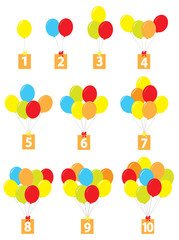 set of cartoon balloons with numbers