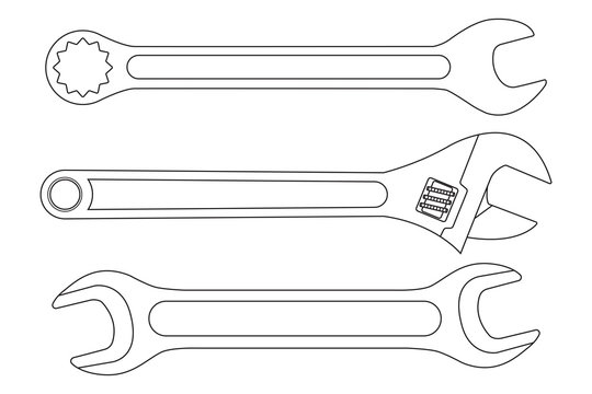 Set of wrenches. White outline icons