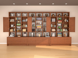 Open wooden shelves with different filling. 3d illustration