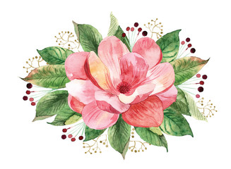 Floral bouquet with watercolor magnolia