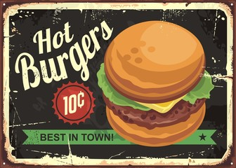Hot burgers retro tin sign design
