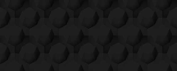 Volume realistic seamless dark texture, octahedron, black 3d geometric pattern, design vector background