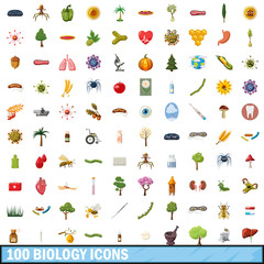 100 biology icons set, cartoon style