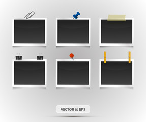 Photo frames collection. Vector illustration. Retro vintage style. Empty place for your text or photo. Realistic photo icon.