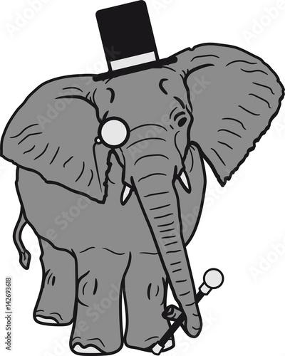 Sir Herr Gentlemen Zylinder Hut Monokel Brille Elefant Gemalt Stock