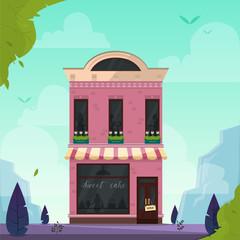 Modern cafe, restaurant, bar, coffee shop, bakery, pizzeria building. Vector illustration. Nature landscape background. Cartoon flat style.