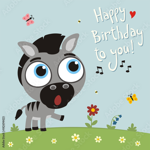 Happy Birthday To You Funny Zebra Sings Birthday Song Card With