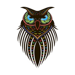 Colorful painted owl on white background, tattoo
