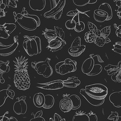 White doodle vegetables and fruits isolated on blackboard seamless vector pattern