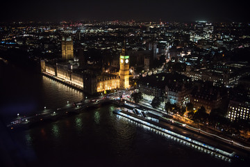 London Landscape at Night from Air View