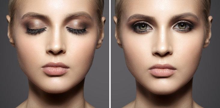 Close up portrait of beautiful woman face. Make up smoky eyes.