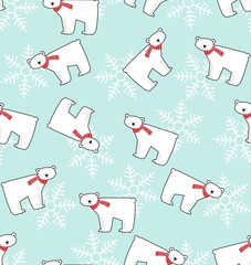 snowbear snowflake seamles vector pattern