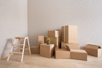Cardboard boxes pile in new empty room with step-ladder