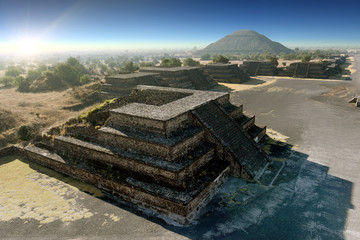 Talud Tablero Platforms & pyramid of the sun Along Avenue of the Dead, site of many Mesoamerican pyramids built in the pre-Columbian America - Teotihuacan, Mexico