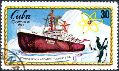 UKRAINE - CIRCA 2017: A postage stamp printed in Cuba shows russian Atomic Icebreakers Lenin, circa 1972