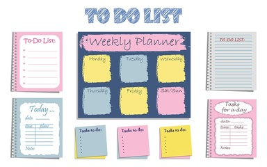 "Set of eight planners ""To-Do List"" for organizing a day. It can be used daily and weekly. Vector illustration."