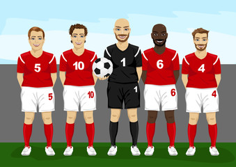 soccer players team group with goalkeeper holding soccer ball