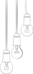 hanging three incandescent lamp sketches on white